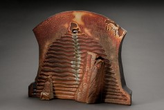 This Time Around wood-fired ceramic shino iron oxide glass sculpture by Tony Moore