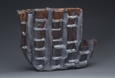New World wood-fired ceramic iron oxide glass sculpture by Tony Moore