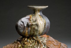 Earth and Sky detail wood fired ceramic with iron oxide and glass sculpture by Tony Moore