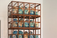 Who Knows why sculpture ceramic, iron oxide and glass by Tony Moore