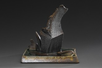 First Cut wood-fired ceramic and glass sculpture by Tony Moore
