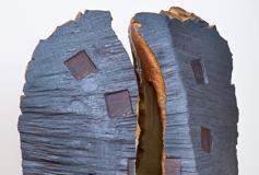 "Voice 2017, 61"" x 32"" x 20"", wood-fired ceramic, glass, steel"