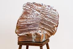 "Apparition 2017 60"" x 29"" x 29"" wood-fired ceramic, porcelain, glass, steel"