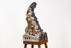 """Injustice Of Silence 2017 63"""" x 25"""" x 25"""" wood-fired ceramic, porcelain, glass, steel"""